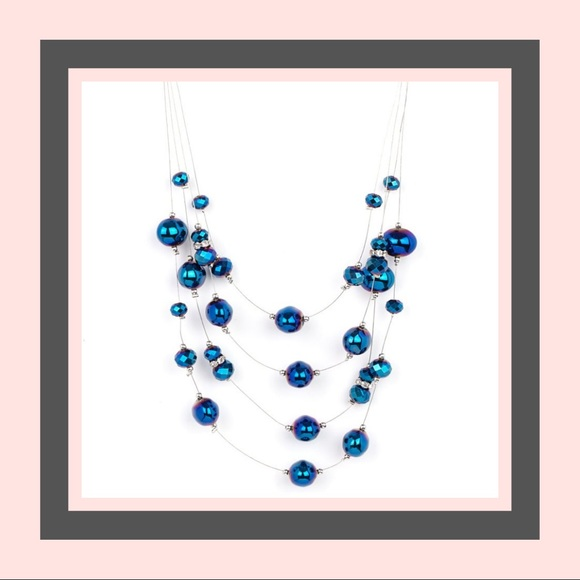 Cosmic Real Estate Blue Necklace - Iridescent
